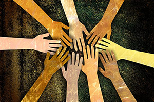Artwork depicting joined hands